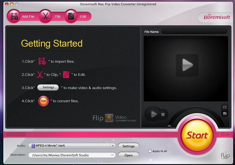 Doremisoft Mac Flip Video Converter screenshot