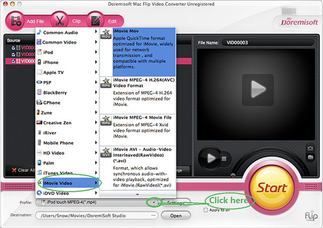 Use Mac flip converter to covert flip video to iMovie, iTunes, iPhone and more.