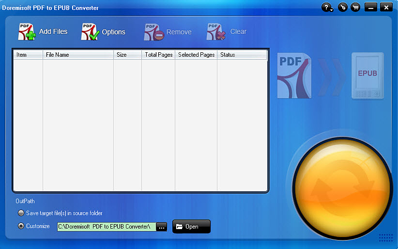Click to view Doremisoft PDF to EPUB Converter 2.1.8 screenshot