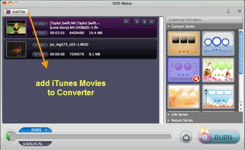 add itunes movies