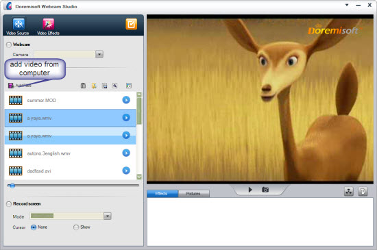 add webcam file. Step3: Add special effects