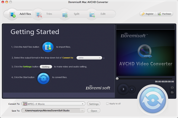 Doremisoft Mac AVCHD Converter full screenshot