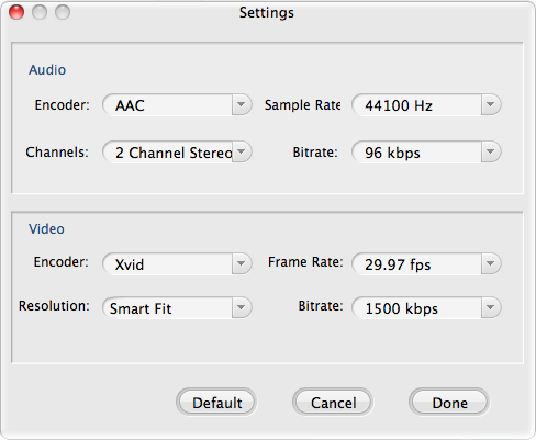MXF Settings for FCE