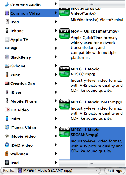 set mov quicktime for dvd movies