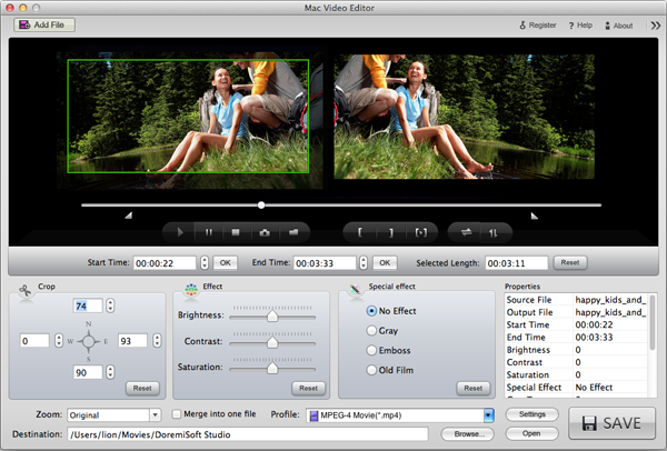 crop Flip videos on Mac