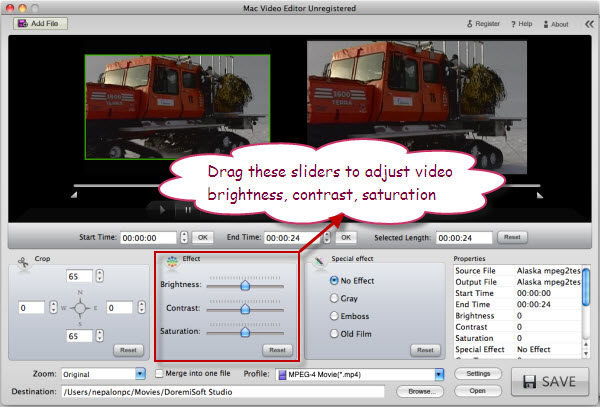Edit MTS video Effect on Mac