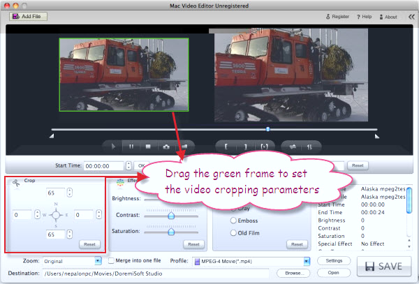 Crop MTS video on Mac